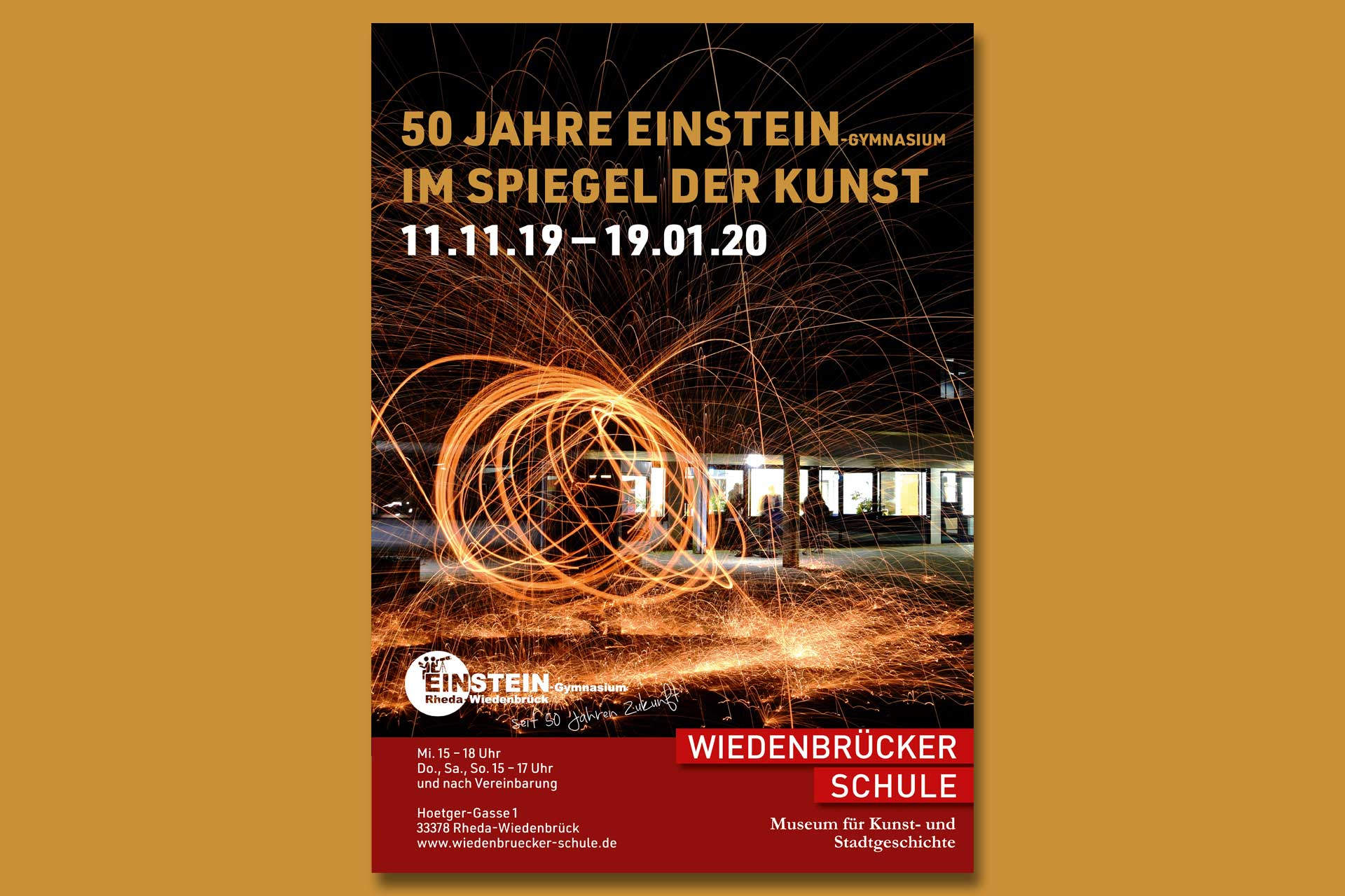 Plakat der Ausstellung 50 Jahre Einstein-Gymnasium