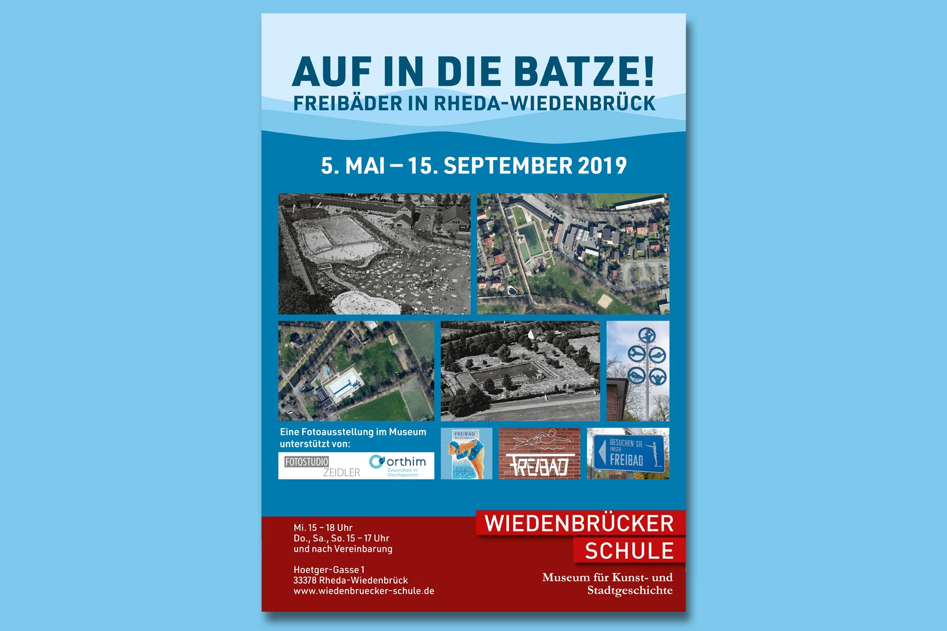 Plakat der Ausstellung Auf in die Batze! Freibäder in Rheda-Wiedenbrück