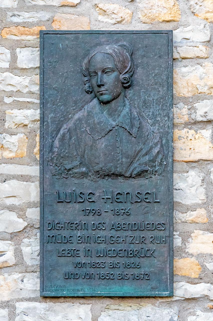 Gedenktafel für Luise Hensel von Hubert Hartmann